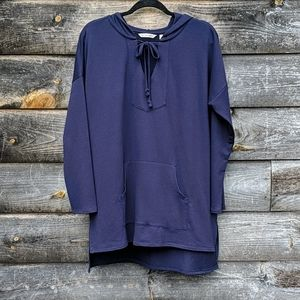 Soft Surroundings Mila Hoodie in Navy Blue Stretch